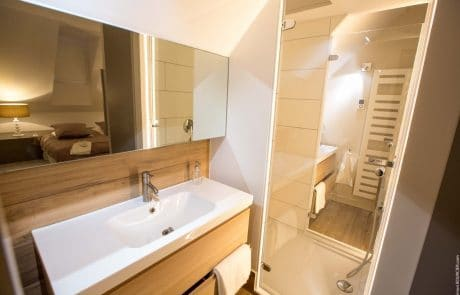 Salle de bains avec douche de la Suite Elisabeth