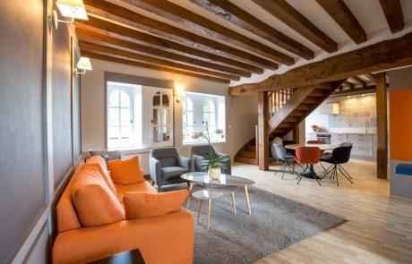 Confortable et spacieux salon de l'appartement Diane à louer à Cheverny