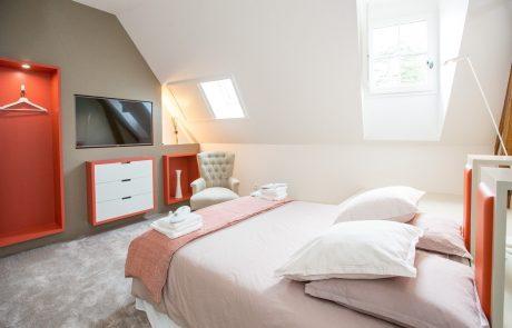 Chambre lumineuse avec lit double et télévision à Cheverny